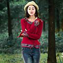 Χαμηλού Κόστους Επιτραπέζια Φωτιστικά-Γυναικεία T-shirt Αργίες / Εξόδου Μπόχο / Κινεζικό στυλ - Βαμβάκι Μονόχρωμο / Φλοράλ / Patchwork Λουλούδι / Άνοιξη / Φθινόπωρο / Κέντημα