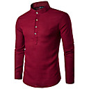 cheap LED Shower Heads-Men's Cotton Shirt - Solid Colored Standing Collar / Long Sleeve