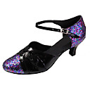 cheap Modern Shoes-Women's Latin Shoes / Modern Shoes Sparkling Glitter / Leatherette Sandal Customized Heel Customizable Dance Shoes Black / Blue / Indoor