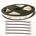billige LED Strip Lamper-zdm 1pc 5m 5050 3 rød + 1 blå fullspektral led vokse 300leds led strip lamper for planter som vokser akvarium belysning med 5 stk to sidelås kontakt