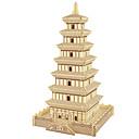 baratos Quebra-Cabeças 3D-Quebra-Cabeças de Madeira Torre Construções Famosas Arquitetura Chinesa Casa Nível Profissional Madeira 1pcs Para Meninas Dom