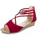 baratos Sandálias Femininas-Mulheres Sapatos Couro Ecológico Verão Conforto Sandálias Salto Baixo Dedo Aberto Cadarço para Casual Preto Rosa cor de Rosa Azul