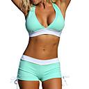 billige Antrekk til latindans-Dame Sporty Grime Rosa Navyblå Lysegrønn Bandeau Boy Leg Bikini Badetøy - Fargeblokk BLå & Hvit Kryss M L XL
