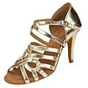 baratos Sapatos de Dança Latina-Mulheres Sapatos de Salsa Courino Sandália / Salto Presilha / Fru-Fru Salto Personalizado Personalizável Sapatos de Dança Dourado / Espetáculo