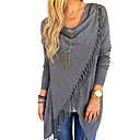 cheap Totes-Women's Going out Street chic Plus Size Cotton T-shirt - Solid Colored Tassel