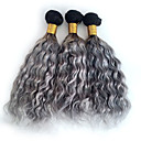 baratos Luz LED Ambiente-3 pacotes Cabelo Brasileiro Encaracolado / Onda Profunda / Weave Curly Cabelo Humano Âmbar Âmbar Tramas de cabelo humano Extensões de cabelo humano