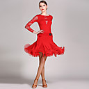 cheap Latin Dance Wear-Latin Dance Outfits Women's Performance Lace / Viscose Ruffles Long Sleeve Natural Leotard / Onesie / Skirt