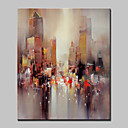 cheap Abstract Paintings-Hand Painted Modern Abstract City Oil Painting On Canvas Wall Art Picture For Home Decoration Ready To Hang