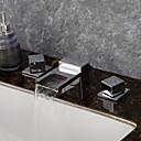 halpa Kylpyhuoneen lavuaarihanat-Nykyaikainen Kolmiosainen Vesiputous LED Keraaminen venttiili Kaksi kahvaa kolme reikää Kromi, Kylpyhuone Sink hana