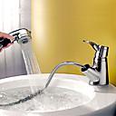 olcso Tusoló fejek-Fürdőszoba mosogató csaptelep - Kihúzható kézi permetező csap Króm Három lyukas Egy fogantyú egy lyukkal