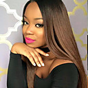 cheap Human Hair Wigs-Remy Human Hair Lace Front Wig / Glueless Lace Front Wig Straight 130% Density Ombre Hair / Natural Hairline / African American Wig Women's Short / Medium Length / Long Human Hair Lace Wig