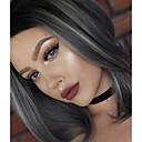 billige Kostymeparykk-Syntetisk blonder foran parykker Dame Naturlige bølger Syntetisk hår Naturlig hårlinje Parykk Medium Lengde Blonde Forside Grå