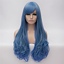 cheap Synthetic Capless Wigs-cosplay wigs blue gradient color wig wigs in europe and america fashion partial points 26 inch long curly hair Halloween