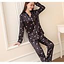billige Sofaputesett-Dame Bomull Skjortekrage Dress Pyjamas - Ensfarget