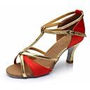 povoljno Cipele za latino plesove-Žene Cipele za latino plesove Umjetna koža Sandale / Štikle Kopča Kubanska potpetica Moguće personalizirati Plesne cipele Zlato / Braon /