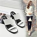 cheap Women's Sandals-Women's Shoes PU(Polyurethane) Comfort Sandals Low Heel White / Black
