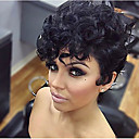 cheap Human Hair Capless Wigs-Synthetic Wig Curly / Afro Synthetic Hair Black Wig Women's Short Capless
