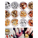 cheap Nail Glitter-12pcs mixed color foil nail art decoration golden silver colorful foil