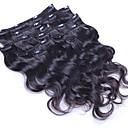 preiswerte Haarverlängerungen in natürlichen Farben-Mit Clip Haarverlängerungen Große Wellen Echthaar Echthaar Haarverlängerungen Brasilianisches Haar Damen Natürlich Schwarz