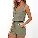 cheap Human Hair Wigs-Women's Going out Romper - Solid Colored V Neck / Summer