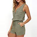 preiswerte Modische Ohrringe-Damen Alltag / Ausgehen V-Ausschnitt Grün Jumpsuit, Solide Ärmellos Sommer