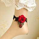 رخيصةأون مجوهرات الجسم-Barfotsandaler - دانتيل وردة موضة أسود من أجل زفاف حزب الهالووين للمرأة