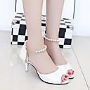 olcso Női magassarkú cipők-Női Cipő PU Nyár Kényelmes Magassarkúak Vaskosabb sarok Kompatibilitás Hétköznapi Fehér Ezüst Rózsaszín