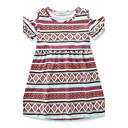 cheap Girls' Dresses-Girl's Daily Beach School Geometric Leopard Animal Print Dress, Cotton Summer Short Sleeves Floral Dot Animal Print Blue Brown Gray