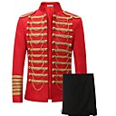 cheap Historical & Vintage Costumes-Prince Cosplay Costume Blazer Jacket & Pants Men's Christmas Halloween Carnival New Year Festival / Holiday Halloween Costumes Red Solid
