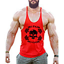 cheap Synthetic Capless Wigs-Men's Sports / Beach Active / Street chic Cotton Tank Top - Skull Print Round Neck / Sleeveless
