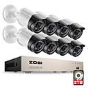 baratos Kits NVR-Zosi® hd-tvi 8ch 1080 p 2.0mp sistema de câmeras de segurança 8 * 1080 p 2000tvl day night vision cctv segurança em casa 2 tb hdd