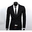 hesapli Düğün Hediyeleri-Erkek Çalışma Bahar Normal Blazer, Solid Çentik Yaka Uzun Kollu Polyester Temel Siyah / Koyu Mavi / Gri XL / XXL / XXXL / İş Dünyası Resmi / İnce