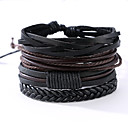 cheap Men's Bracelets-Men's Leather Bracelet - Leather Vintage, Punk Bracelet Black For Anniversary Gift Sports
