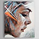 baratos Pinturas Pessoas-Pintura a Óleo Pintados à mão - Pessoas Modern Incluir moldura interna / Lona esticada