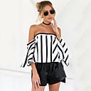 baratos Conjuntos de Bijuteria-Mulheres Camisa Social - Para Noite Feriado Moda de Rua Listrado Sem Alças