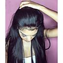hesapli Gerçek Saç Örme Peruklar-Gerçek Saç 360 Ön Peruk Düz Brezilya Saçı Düz / 360 Frontal At kuyruğu ile % 180 Yoğunluk Bebek Saçlı / Doğal saç çizgisi / Ağartılmış Knot ile Doğal / Siyah Kadın's Şort / Orta / Uzun Gerçek Sa