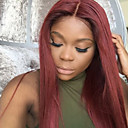 cheap Human Hair Wigs-Remy Human Hair Full Lace Wig Brazilian Hair Straight Wig 130% Density with Baby Hair Ombre Hair Natural Hairline African American Wig 100% Hand Tied Women's Short Medium Length Long Human Hair Lace