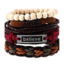 baratos Braceletes-Pulseiras de couro - Pele Vintage, Fashion Pulseiras Arco-íris Para Casamento Festa Esportes