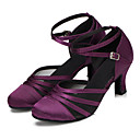 "cheap Modern Shoes-Women's Modern Satin Sandal Heel Professional Buckle Customized Heel Black Purple 1"" - 1 3/4"" 2"" - 2 3/4"" 3"" - 3 3/4"" 4"" & Up Customizable"