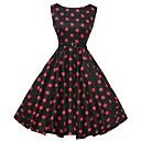 povoljno Stare svjetske nošnje-Žene Praznik Izlasci Vintage Pamuk A kroj Swing kroj Haljina Na točkice Uski okrugli izrez Do koljena