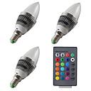 baratos Luz LED Ambiente-3pçs 3 W 300-400 lm E14 Luzes de LED em Vela 1 Contas LED LED de Alta Potência Regulável / Controle Remoto RGB 12 V / 85-265 V / 3 pçs