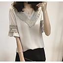 baratos Conjuntos de Bijuteria-Mulheres Camiseta Sólido Algodão Decote V