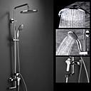 abordables Grifos de Bañera-Grifo de ducha - Moderno Cromo Colocado en la Pared Válvula Cerámica / Latón / Dos asas de tres agujeros