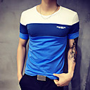 cheap Athletic Swimwear-Men's Sports Plus Size Cotton T-shirt - Color Block Blue & White, Patchwork Round Neck / Short Sleeve