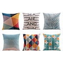 cheap Pillow Covers-6 pcs Linen Sofa Cushion Travel Pillow Body Pillow Bed Pillow Pillow Case, Striped Geometric Quotes & Sayings Graphic Prints Casual