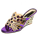 cheap Women's Sandals-Women's Shoes Microfiber Summer / Fall Comfort / Novelty / Slingback Sandals Walking Shoes Flat Heel / Wedge Heel Open Toe Rhinestone /
