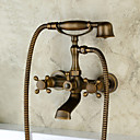 cheap Bathtub Faucets-Bathtub Faucet - Antique / Country / Traditional Antique Copper Wall Mounted Ceramic Valve