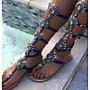 cheap Women's Sandals-Women's Shoes PU Spring Summer Novelty Sandals Flat Heel Rhinestone Flower for Wedding Dress Party & Evening Blue