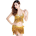 cheap Dance Accessories-Belly Dance Outfits Women's Performance Sequined Tassel Sleeveless Natural Top / Skirt