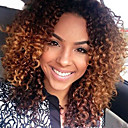cheap Human Hair Wigs-Virgin Human Hair Glueless Lace Front Wig Peruvian Hair Kinky Curly Ombre Wig Middle Part / With Baby Hair 150% 10-26 inch Natural Hairline / African American Wig / 100% Hand Tied Auburn / Ombre
